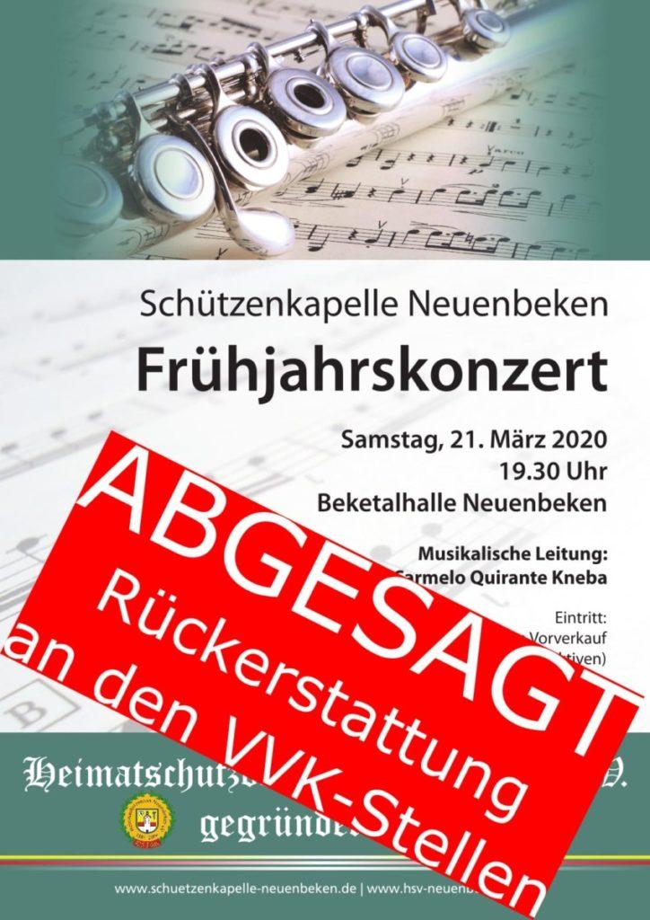Frühjahrskonzert am 21.03.2020 abgesagt